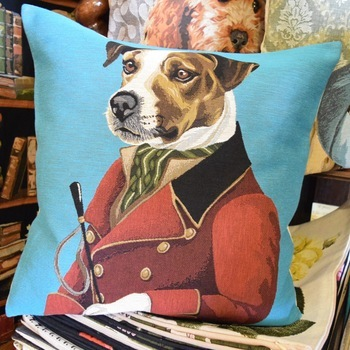 "Dressed up Jack russel (Blue)   ""Belgium Tapestry cushion"""
