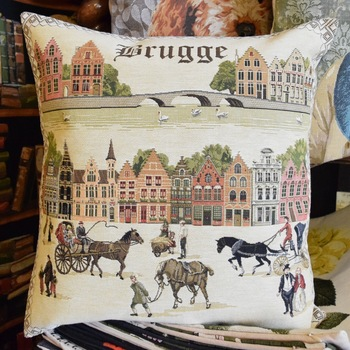 """Bruges with carriage & the lake of love bridge  """"Belgium Tapestry cushion"""""""