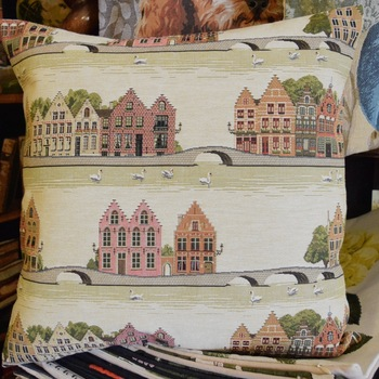 "Bruges houses with swans  ""Belgium Tapestry cushion"""