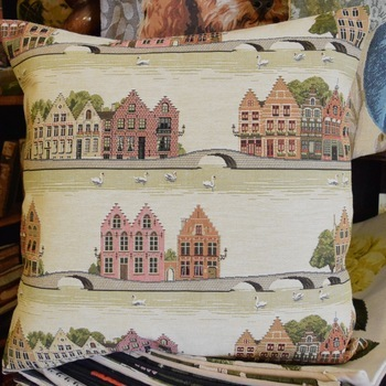 """Bruges houses with swans  """"Belgium Tapestry cushion"""""""