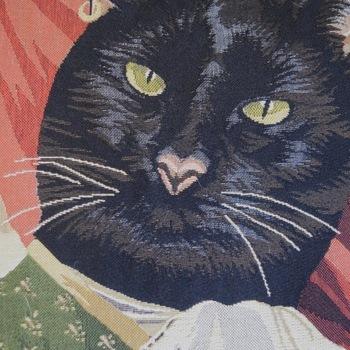 """Zwarte kat """"Belgische tapisserie kussen"""""""