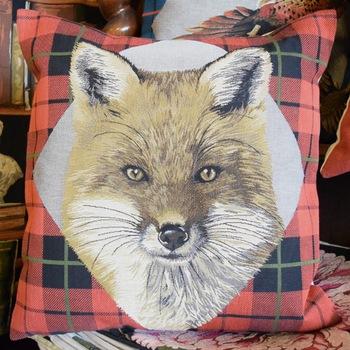 "Fox tartan red ""Belgium Tapestry cushion"""