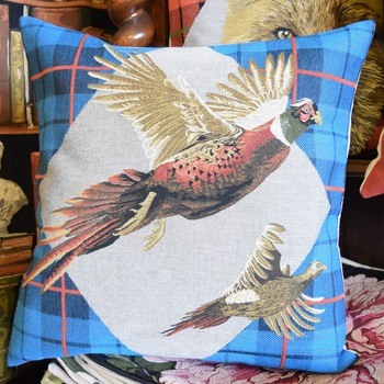 "Pheasant tartan blue ""Belgium Tapestry cushion"""