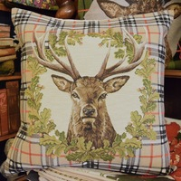 "Deer tartan brown ""Belgium Tapestry cushion"""