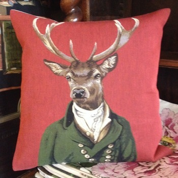 """""""Stage green jacket (red)"""" Belgium Tapestry cushion"""