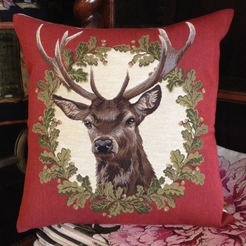 """Stage wreath red II"" Belgium Tapestry cushion"