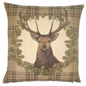 """Cerf couronne"" Tapisserie Belge coussin"