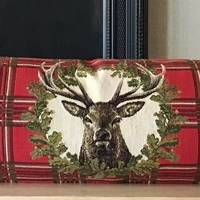 "25x90cm deers tartan red ""Belgium Tapestry cushion"""