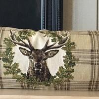 """25x90cm deers tartan beige """"Belgium Tapestry cushion"""""""