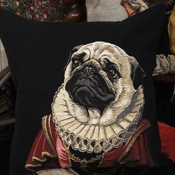 """Lady mops zwart """"Belgische tapisserie kussen"""""""