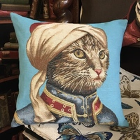 """Chat sultan BL""   Tapisserie Belge coussin"