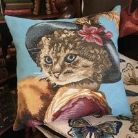 Lady cat BL -  Tapisserie Belge coussin