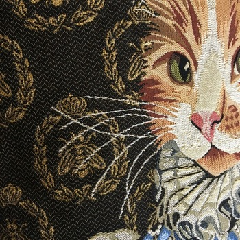 """Lady cat blue 2""  Belgium Tapestry cushion"