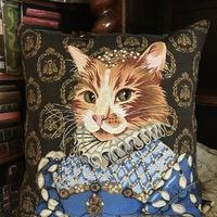 """""""Lady cat blue 2""""  Belgische tapisserie kussen"""