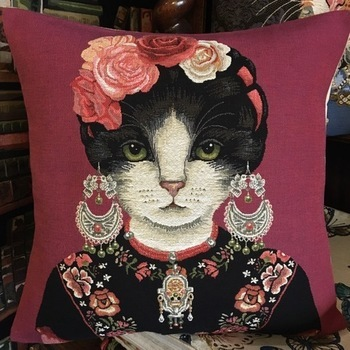 """Chat rouge """"Tapisserie Belge coussin"""""""