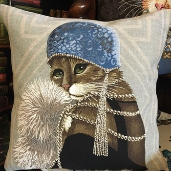"Gatsby chat gris ""Tapisserie Belge coussin"""