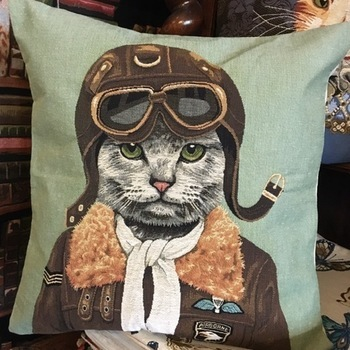 "Cat pilot ""Belgium Tapestry cushion"""