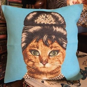 "Cat Audrey hepburn ""Belgium Tapestry cushion"""