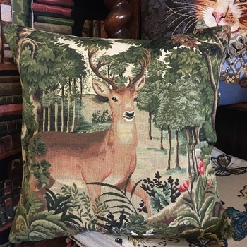 "Deer forest I ""Belgium Tapestry cushion"""