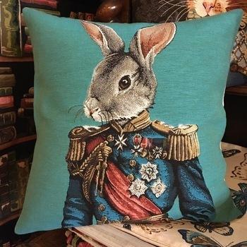 """Gekleed konijn B. """"Belgische tapisserie kussen"""""""