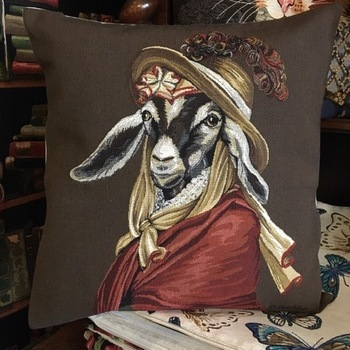 """clothed goat brown """"Belgium Tapestry cushion"""""""