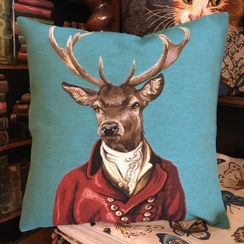 """Clothed deer B. """"Belgium Tapestry cushion"""""""