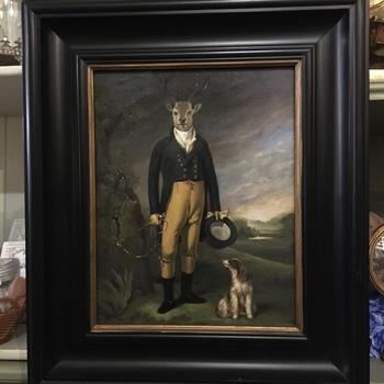 Deer portrait dressed up painting  reproduction