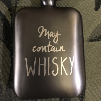 "Hip flasks ""May contain whisky"""