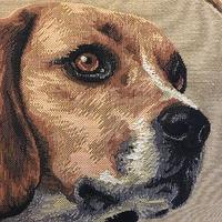 "Beagle cushion green strips""Belgium Tapestry cushion"""