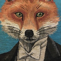 "Fox tuxedo pillow  BL ""Belgium Tapestry cushion"""