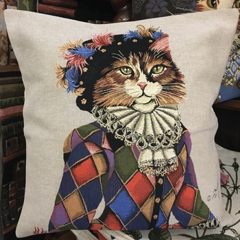 Cat harlequin grey pillow  Belgium Tapestry cushion