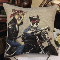 Born to be dog III cousin Tapisserie Belge coussin
