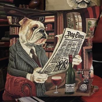"English bulldog newspaper pillow  ""Belgium Tapestry cushion"""