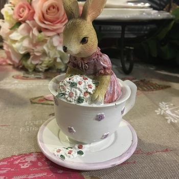 rabbit in white teacup