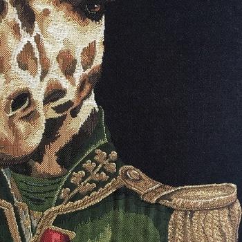 """Girafe habillée coussin BL """"Tapisserie Belge coussin"""""""