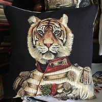 """Clothed tiger  BL """"Belgium Tapestry cushion"""""""
