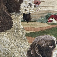 "2 english cocker spaniel hunting dogs  ""Belgium Tapestry cushion"""