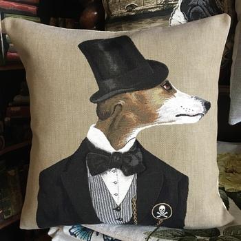 "Whippet greyhound hoed  ""Belgische tapisserie kussen"""
