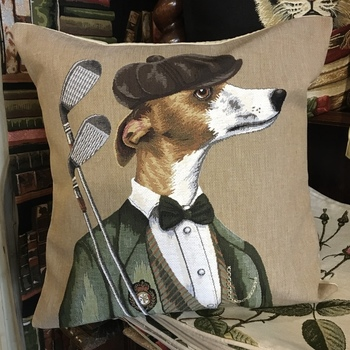 """Dressed up Whippet greyhound with golf outfit """"Belgium Tapestry cushion"""""""