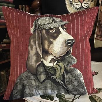 "Basset Hound comme Sherlock Holmes ""Tapisserie Belge coussin"""