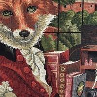 "Dressed fox on chair  ""Belgium Tapestry cushion"""