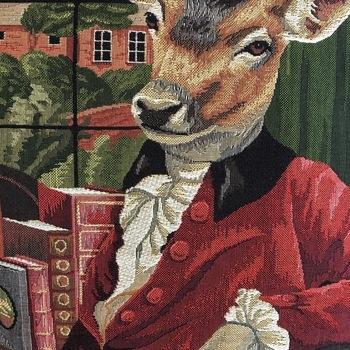 """Geklede hert op stoel   """"Belgische tapisserie kussen"""""""