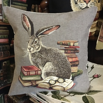 """Hare with books  """"Belgium Tapestry cushion"""""""