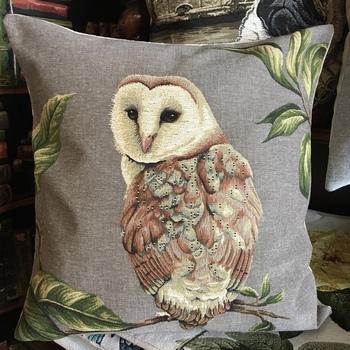 "Barn owl on branch ""Belgium Tapestry cushion"""