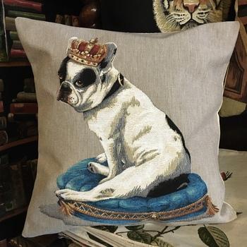 """Franse bulldog met kroon """"Belgische tapisserie kussen"""""""