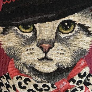 """Fancy kat met hoed R """"Belgische tapisserie kussen"""""""