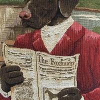 """Lezende zwarte labrador ruiter """"Belgische tapisserie kussen"""""""