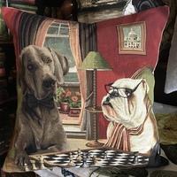 """Chess-playing Bulldog and Weimaraner """"Belgium Tapestry cushion"""""""