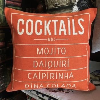 "Cocktails orange ""Tapisserie Belge coussin"""