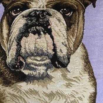 """Engelse bulldog Lila """"Belgische tapisserie kussen"""""""
